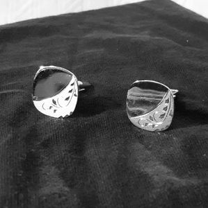 Etched sterling silver cuff links
